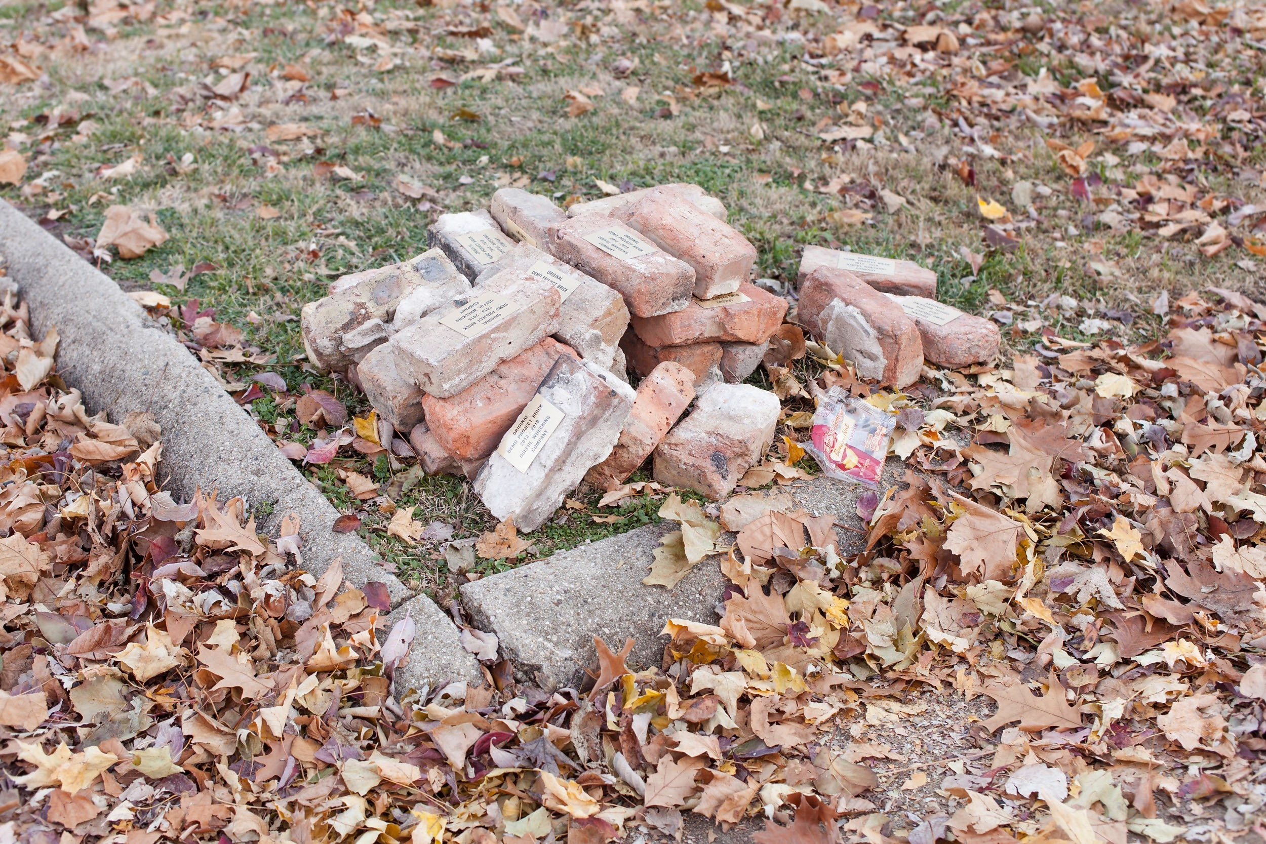 2013–2018, 2017 Authenticated bricks Installation view, Outside Jokes, DEMO Project, Springfield, IL. Curated by Jesse Malmed