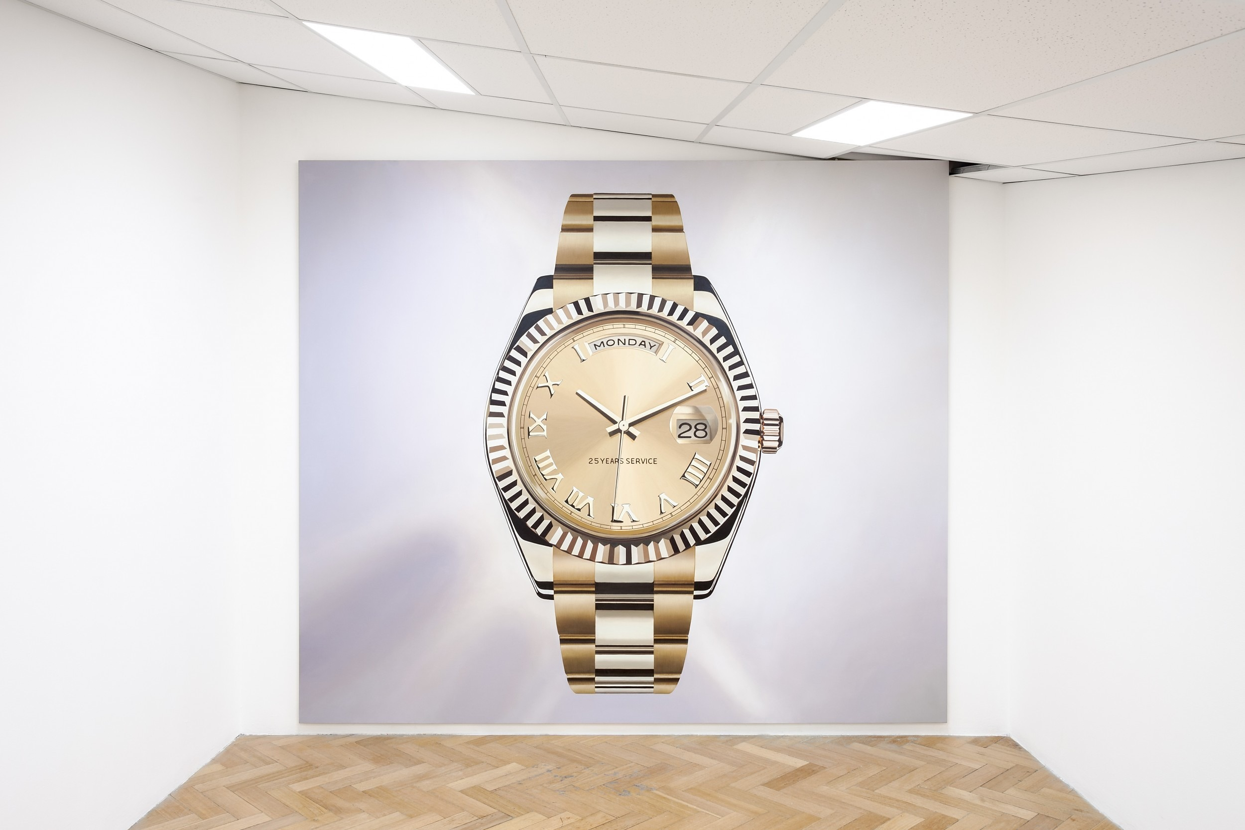 Gold Watch (for Steve), 2014. Oil on canvas, 2.6 x 3.0 m Installation view, Having Cheese Makes You Happy, West Space, Melbourne, VIC, Australia, Jun-Jul 2014