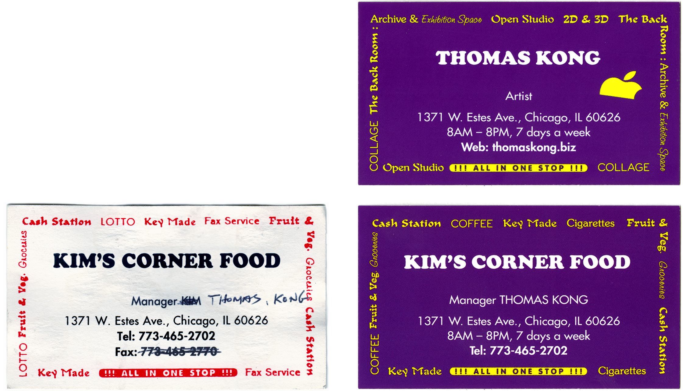 Left: Business card for Kim's Corner Food, c.late 1980s/early 1990s Right: Dan Miller/Thomas Kong, Business card for Kim's Corner Food and Thomas Kong (back and front), 2015